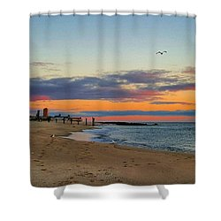 Purple Clouds Shower Curtain by Lauren Fitzpatrick