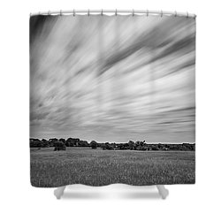 Shower Curtain featuring the photograph Clouds Moving Over East Texas Field by Todd Aaron