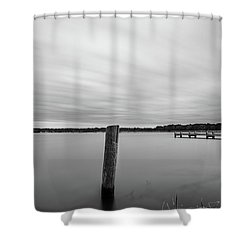 Clouds Moving Over Lake Long Exposure Shower Curtain