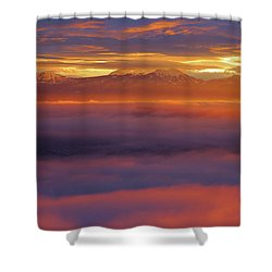 Clouds Of Fire Surround The La Sal Mountains From Dead Horse Point State Park Shower Curtain