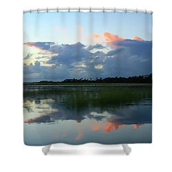 Clouds Over Marsh Shower Curtain by Patricia Schaefer