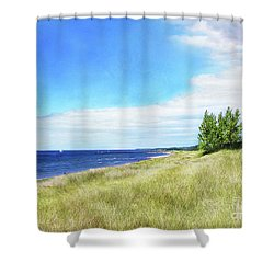 Shower Curtain featuring the photograph Clouds Over Shoreline by Kathi Mirto