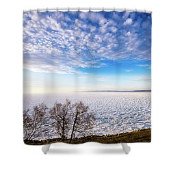 Clouds Over The Bay Shower Curtain by Onyonet  Photo Studios