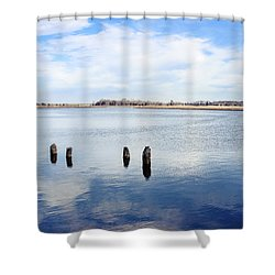 Shower Curtain featuring the photograph Clouds Over The Mullica River by Colleen Kammerer