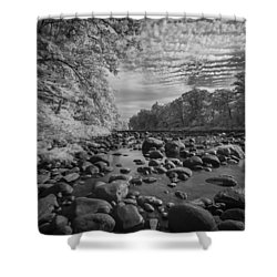 Clouds Over The River Rocks Shower Curtain