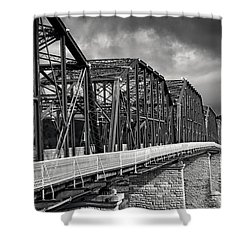 Shower Curtain featuring the photograph Clouds Over Walnut Street Bridge In Black And White by Greg Mimbs