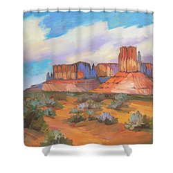 Shower Curtain featuring the painting Clouds Passing Monument Valley by Diane McClary