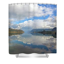 Clouds Reflection On The Columbia River Gorge Shower Curtain by David Gn