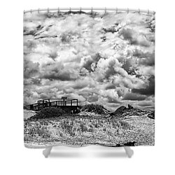 Shower Curtain featuring the photograph Cloudy Beach Black And White By Kaye Menner by Kaye Menner