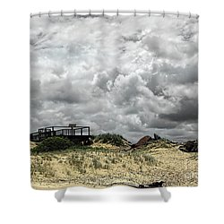 Shower Curtain featuring the photograph Cloudy Beach By Kaye Menner by Kaye Menner