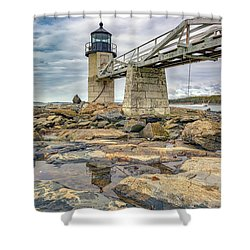 Shower Curtain featuring the photograph Cloudy Day At Marshall Point by Rick Berk