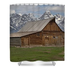 Cloudy Day At The Moulton Barn Shower Curtain by Adam Jewell
