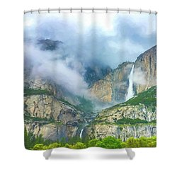 Cloudy Day At Yosemite Falls Digital Watercolor Shower Curtain