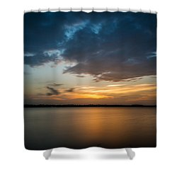 Shower Curtain featuring the photograph Cloudy Lake Sunset by Todd Aaron