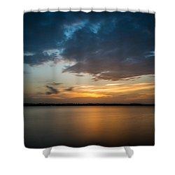 Cloudy Lake Sunset Shower Curtain