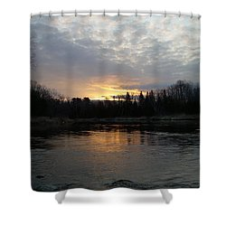 Shower Curtain featuring the photograph Cloudy Mississippi River Sunrise by Kent Lorentzen