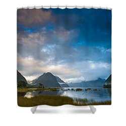 Cloudy Morning At Milford Sound At Sunrise Shower Curtain by Ulrich Schade