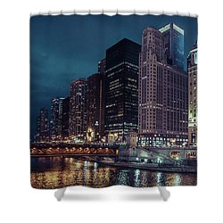 Cloudy Night Chicago Shower Curtain