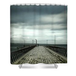 Shower Curtain featuring the photograph Cloudy Pier by Perry Webster