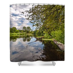 Shower Curtain featuring the photograph Cloudy River by Julis Simo
