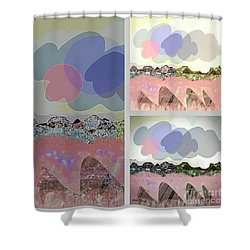Shower Curtain featuring the mixed media Cloudy by Ann Calvo