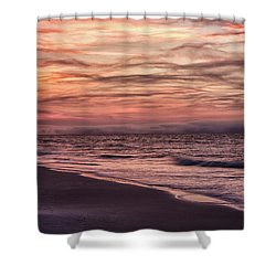 Shower Curtain featuring the photograph Cloudy Sunrise At The Beach by John McGraw