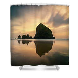 Cloudy Sunset At Cannon Beach Shower Curtain