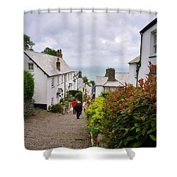 Clovelly High Street Shower Curtain by Richard Brookes