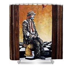 Clown S Melancholy Shower Curtain by Natalia Tejera