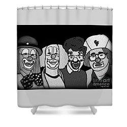 Clowns Bw Shower Curtain by Megan Dirsa-DuBois