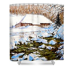 Shower Curtain featuring the painting Clubhouse In Winter by Sher Nasser