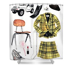 Clueless Movie Collage 90's Fashion Shower Curtain by Laura Row
