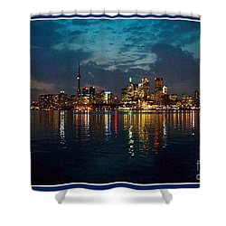 Cn  Tower And Toronto Down Town Water Front Beauty At Night Full Blast Photo Shower Curtain