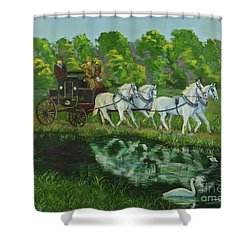 Coach And Four In Hand Shower Curtain by Charlotte Blanchard