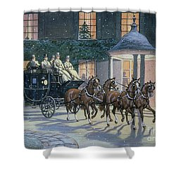 Coaching At Hurlingham Shower Curtain by Ninetta Butterworth