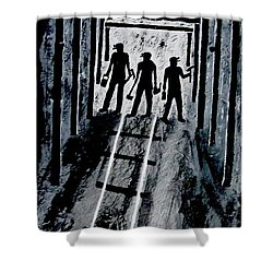 Coal Miners At Work Shower Curtain