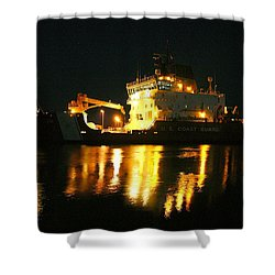 Coast Guard Cutter Mackinaw At Night Shower Curtain by Keith Stokes
