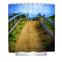 Shower Curtain featuring the photograph Coast Path by Perry Webster