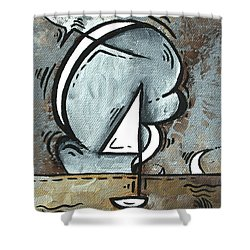 Coastal Art Contemporary Sailboat Painting Whimsical Design Silver Sea I By Madart Shower Curtain by Megan Duncanson