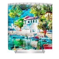 Coastal Cafe Greece Shower Curtain