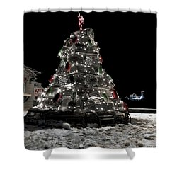 Coastal Christmas Shower Curtain