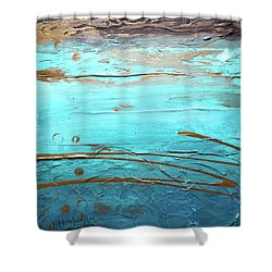 Coastal Escape I Textured Abstract Shower Curtain