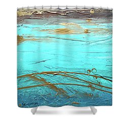 Coastal Escape II Textured Abstract Shower Curtain