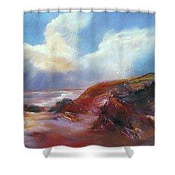 Coastal Glow Shower Curtain by Rae Andrews