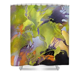 Shower Curtain featuring the painting Coastal Interlace by Rae Andrews