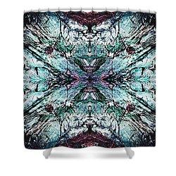 Coastal Rocks Brillig Turquoise Kaleidoscope Effect Shower Curtain