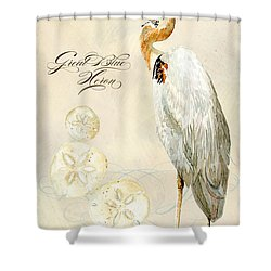 Coastal Waterways - Great Blue Heron Shower Curtain by Audrey Jeanne Roberts
