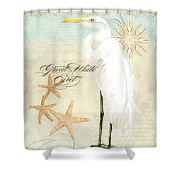 Coastal Waterways - Great White Egret 3 Shower Curtain by Audrey Jeanne Roberts