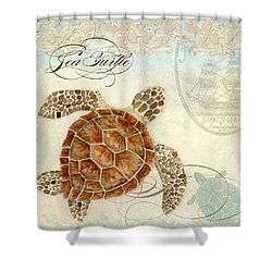 Coastal Waterways - Green Sea Turtle 2 Shower Curtain