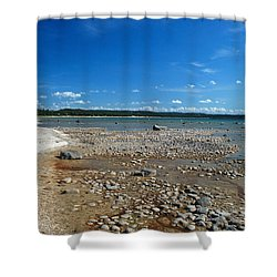 Shower Curtain featuring the photograph Coastline Of Lake Michigan  Near Petoskey State Park - Little Traverse Bay by Janice Adomeit